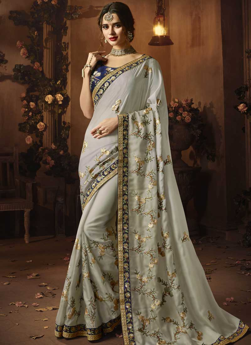 Stylish Art Silk Grey Designer Traditional Saree