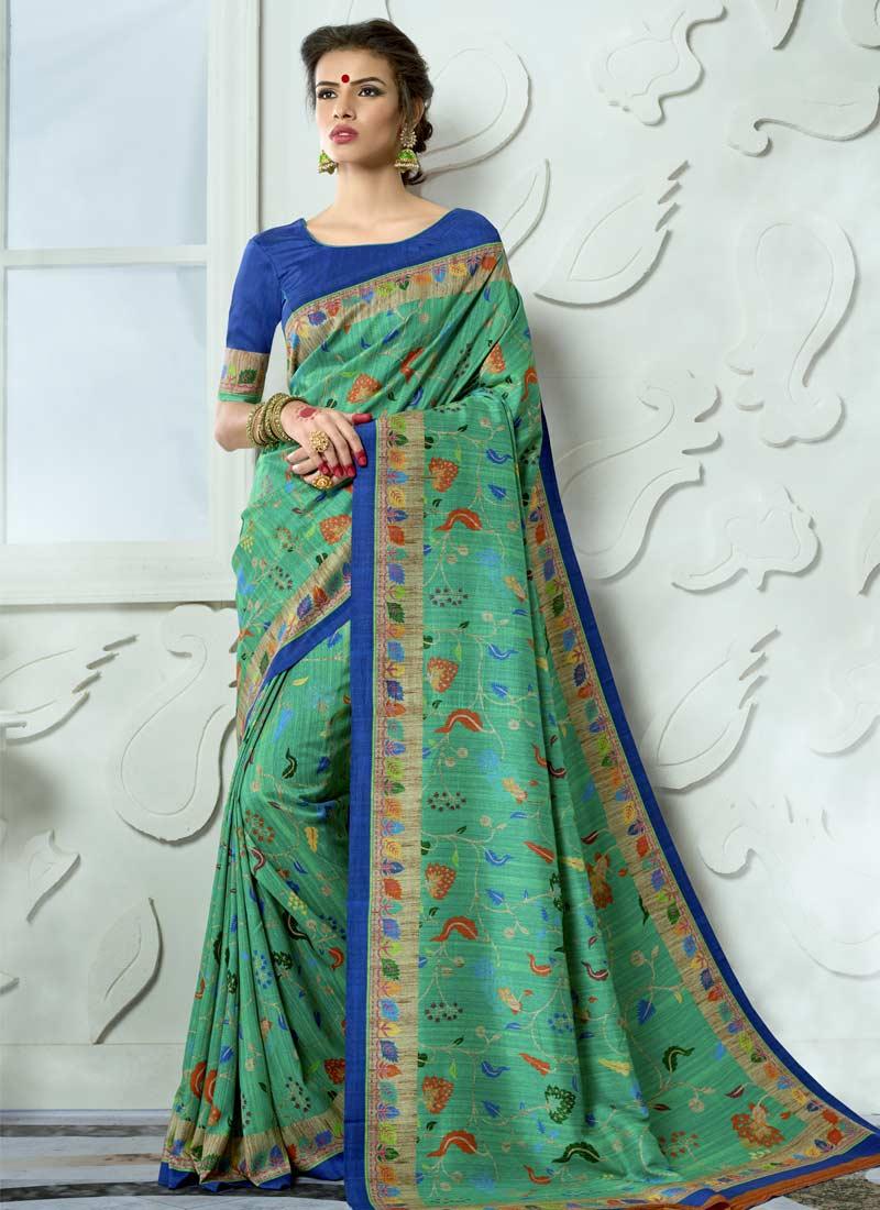 Stylish Digital Print Tussar Silk Green Casual Saree