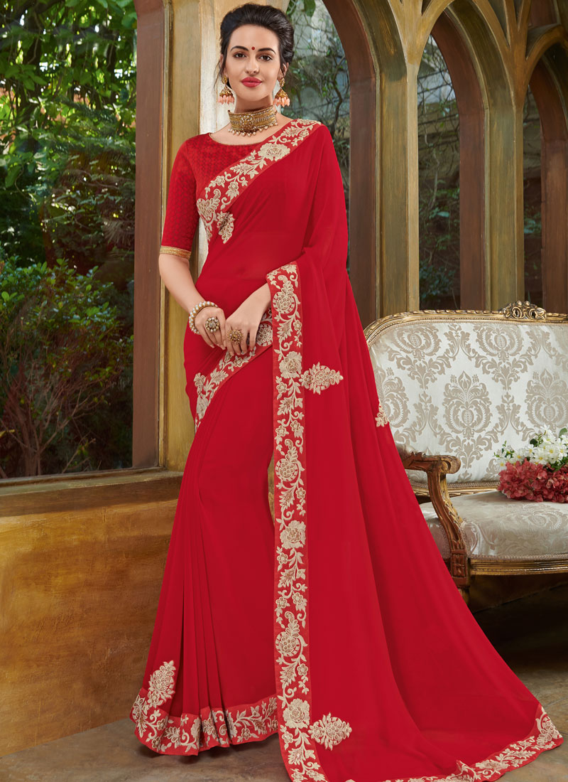 Stylish Embroidered Faux Georgette Red Classic Designer Saree