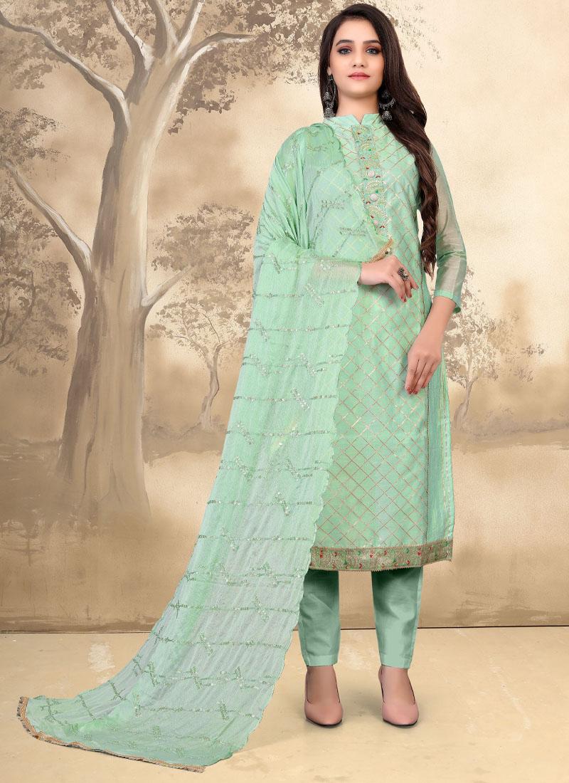 Stylish Pant Style Modal Chanderi Salwar Kameez In Sea Green
