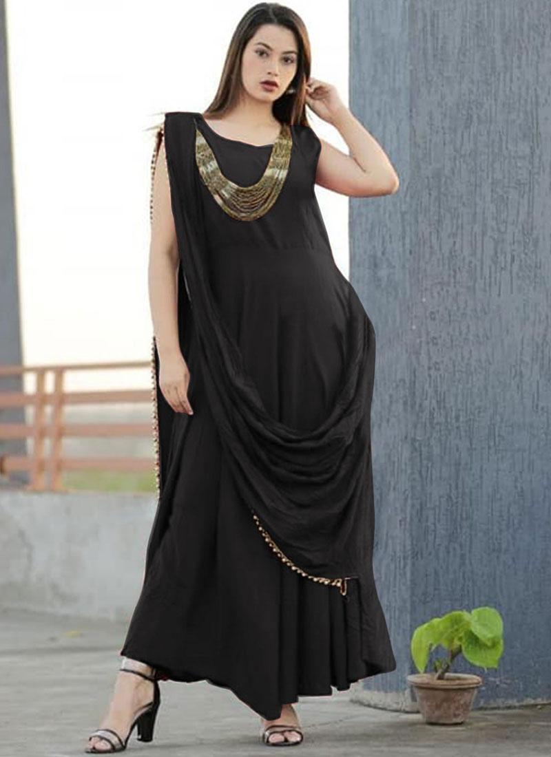 Stylish Plain Rayon Designer Gown