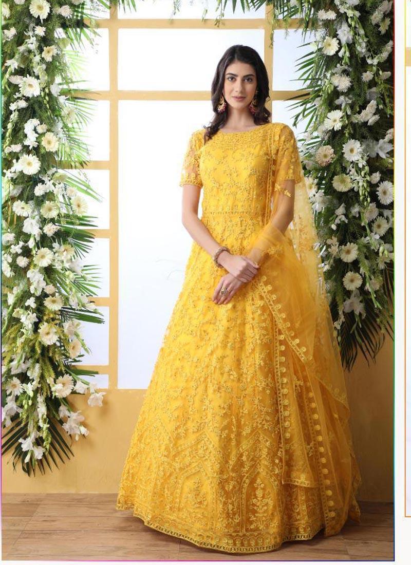 Stylish Stone Work Yellow Net Designer Gown