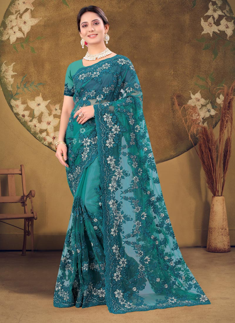 Stylish Wear Resham & Zarkan Work Designer Saree In Teal