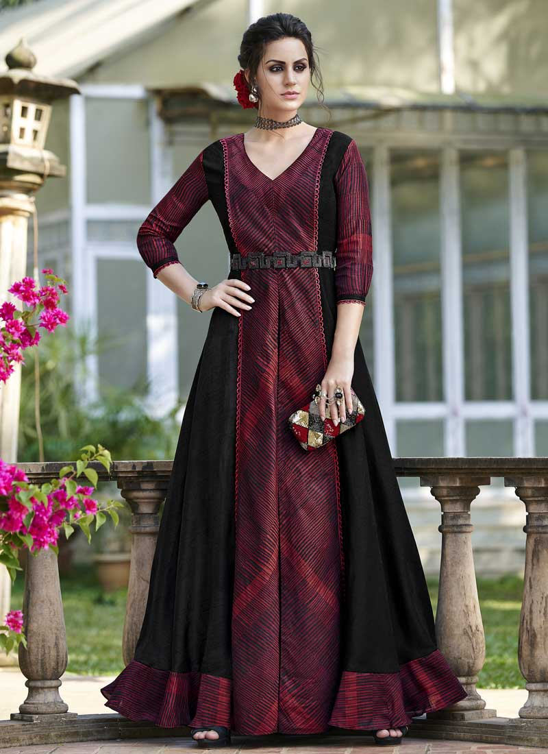 Suave Black and Maroon Print Tussar Silk Designer Gown