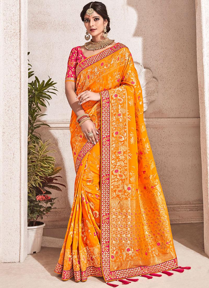 Subtle Banarasi Silk Orange Patch Border Traditional Designer Saree