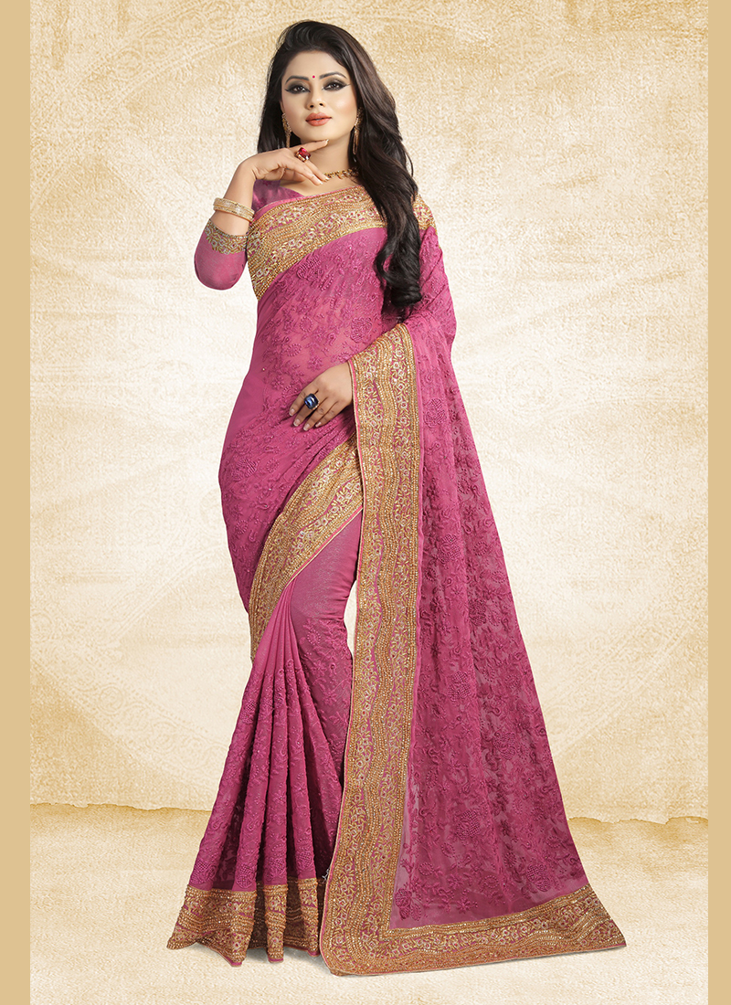 Subtle Lavender Faux Chiffon Classic Designer Saree