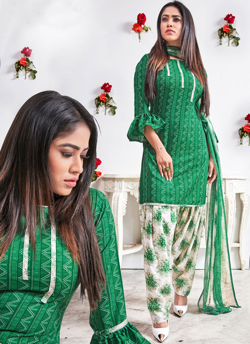 Sumptuous Faux Crepe Abstract Print Green Punjabi Suit