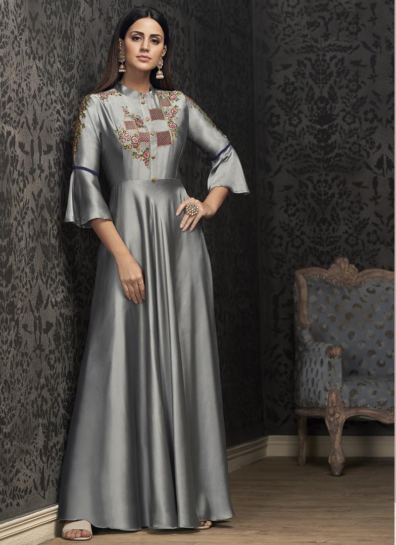 Sumptuous Tafeta Silk Readymade Gown