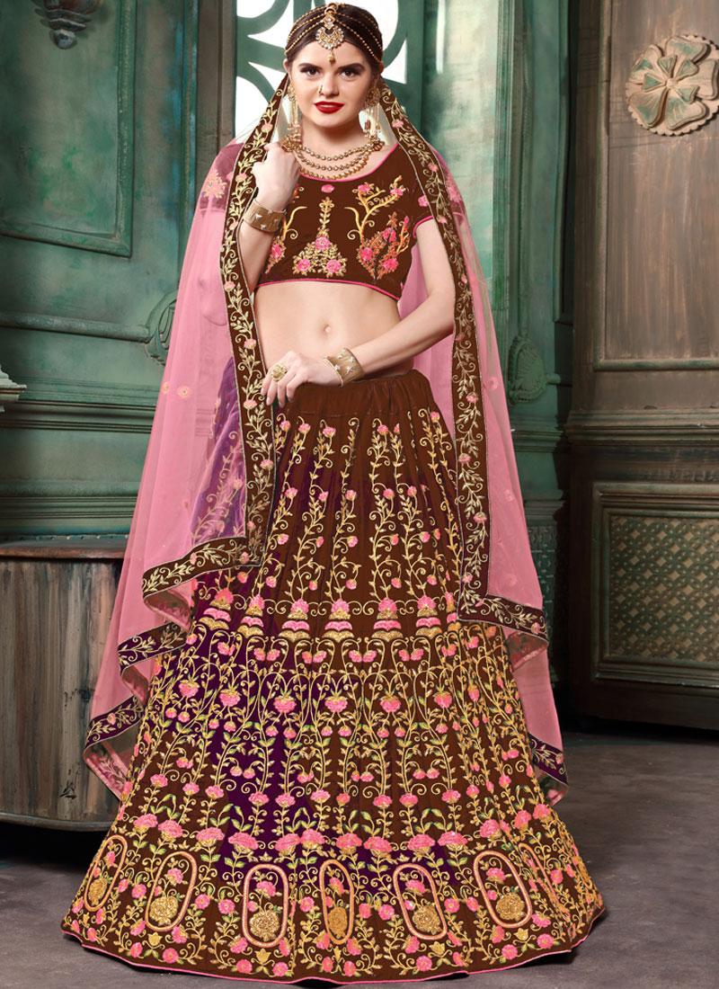 Superb Brown Wedding Lehenga Choli