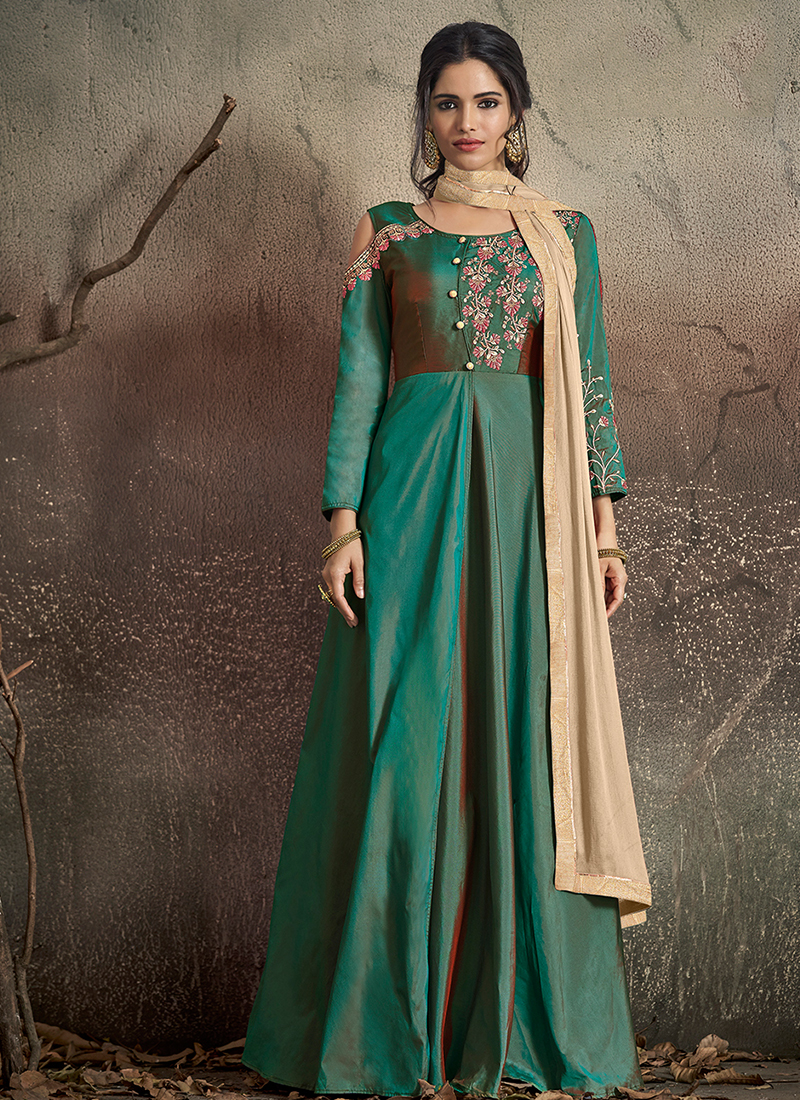 Superb Embroidered Mehndi Readymade Designer Gown