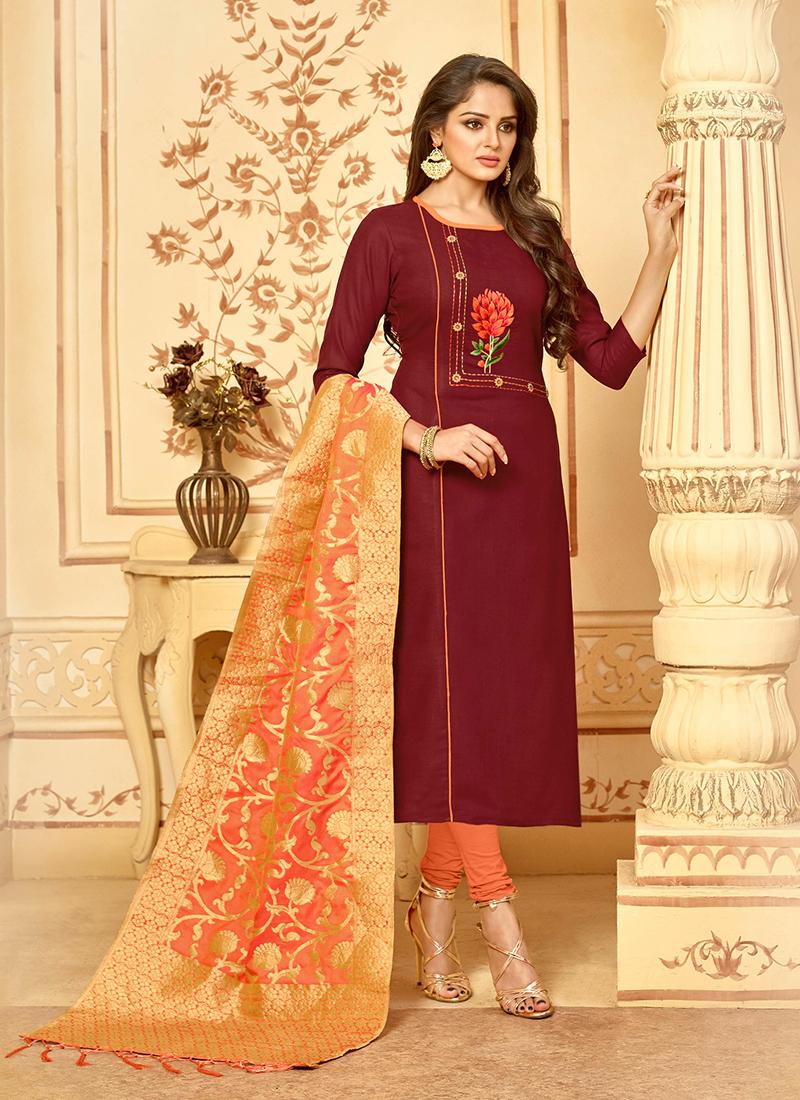 b3b2085d67 Swanky Resham Cotton Maroon Churidar Salwar Suit. Hover to zoom