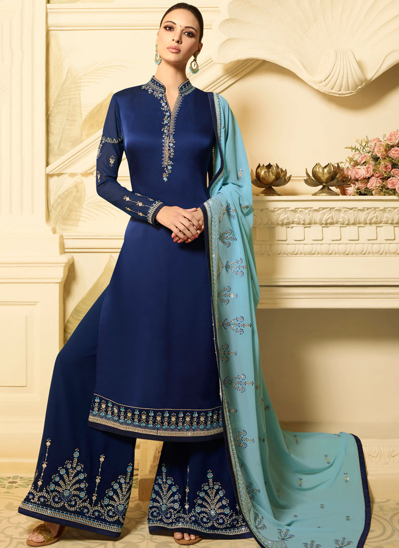 8a8a9713cf ... Navy Blue Georgette Satin Designer Palazzo Suit. Hover to zoom