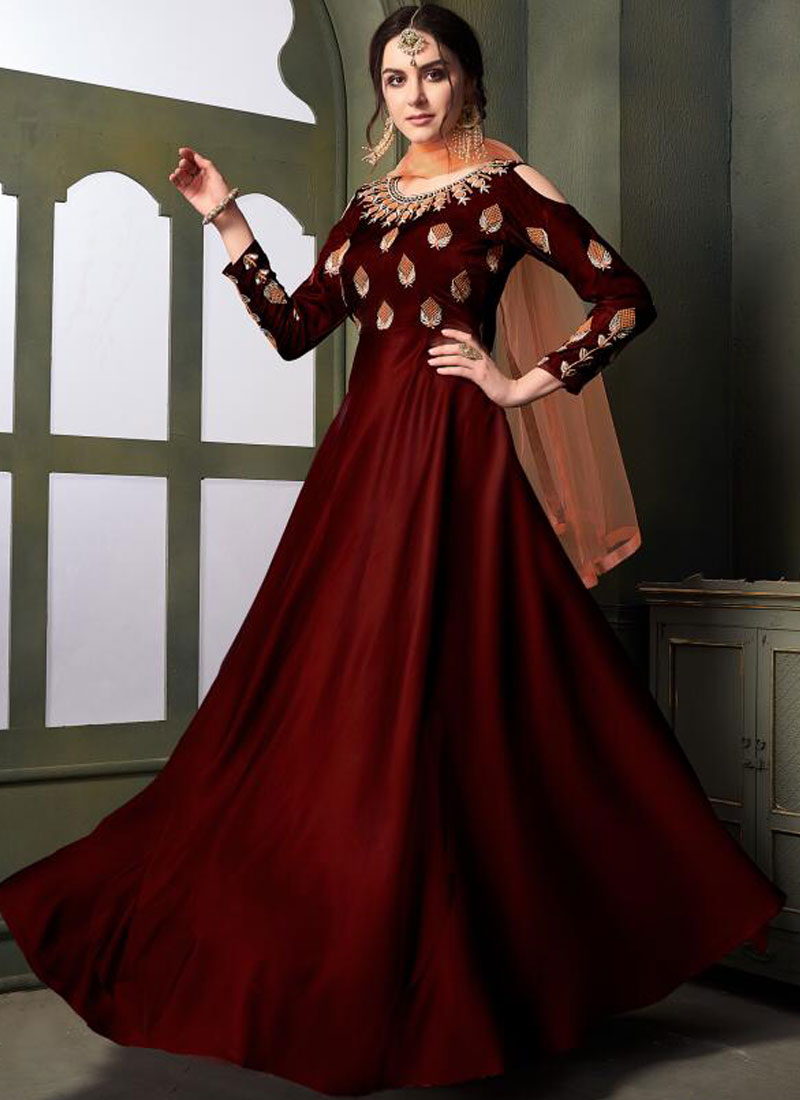 Tafeta Silk Embroidered Maroon Designer Gown