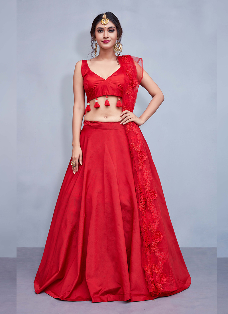 Tafeta Silk Red Readymade Lehenga Choli