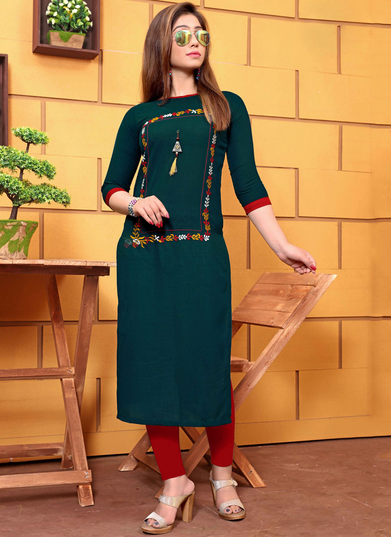 Teal Embroidered Cotton Party Wear Kurti