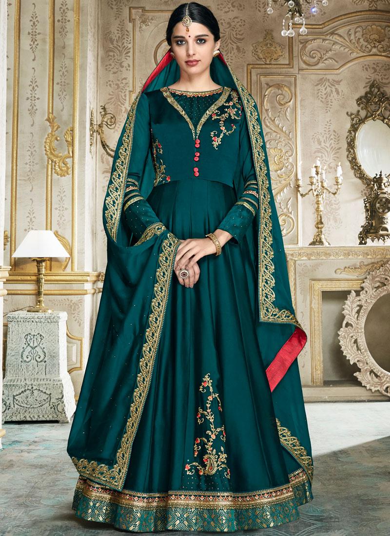 Teal Festival Art Silk Floor Length Anarkali Suit