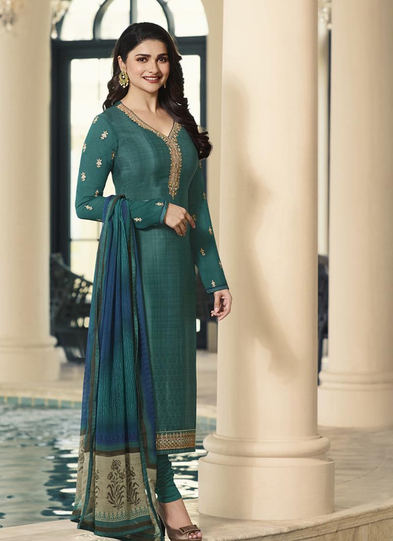 26e651fde3 Teal Festival Faux Crepe Churidar Salwar Suit