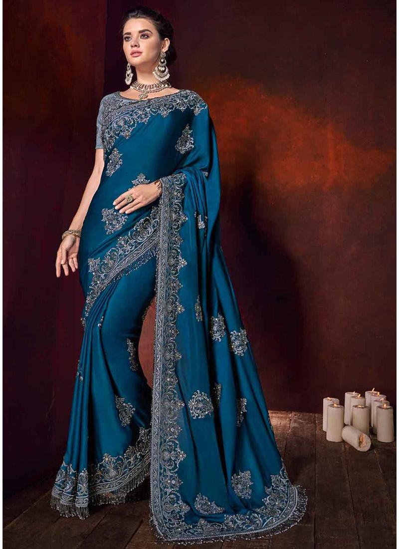 Teal Satin Classic Designer Saree