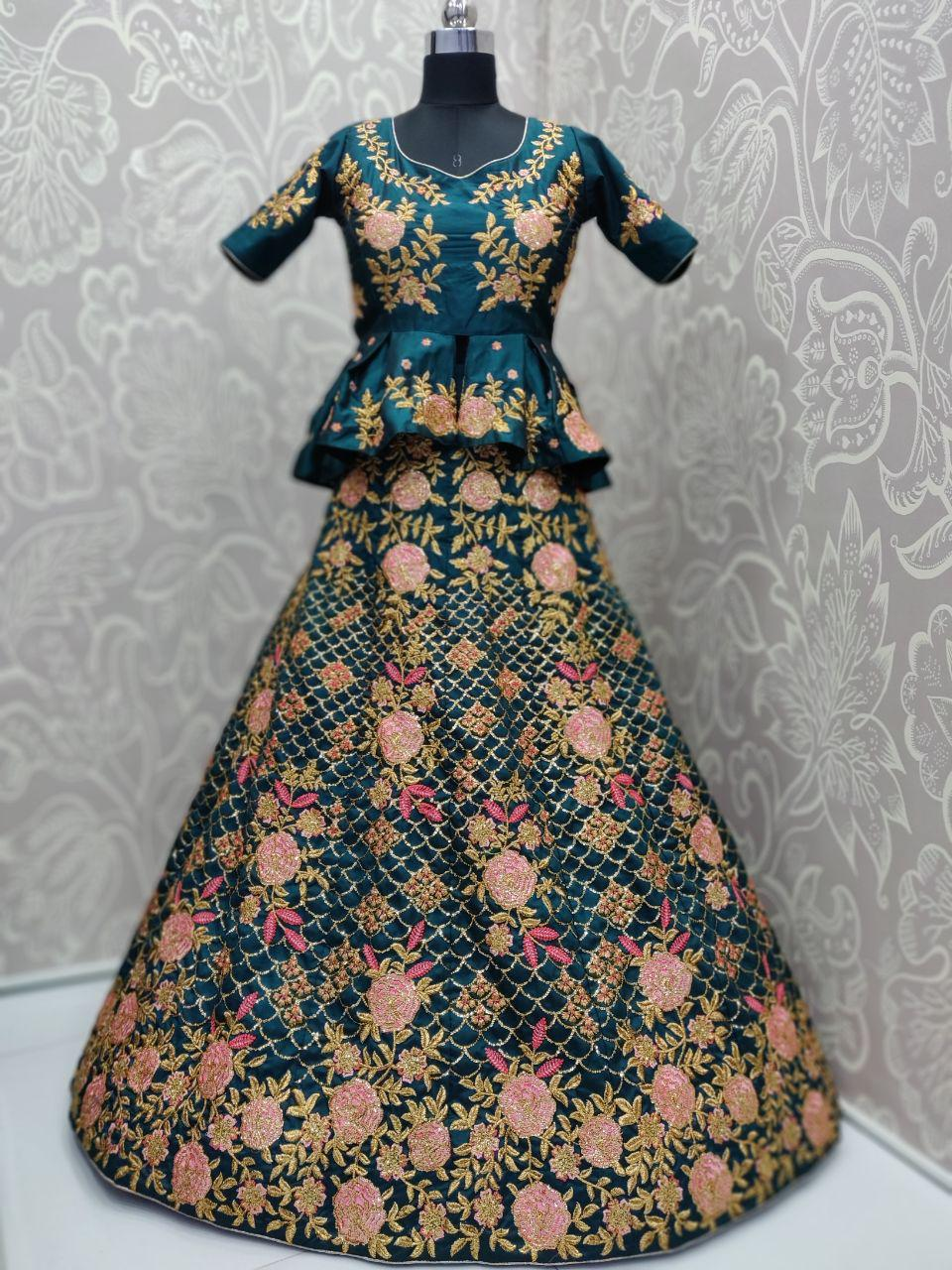 Teal Satin Silk peplum blouse Lehenga Choli