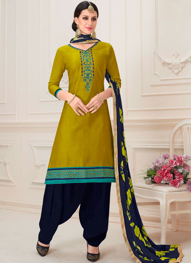d13a28d02f Tempting Embroidered Green Designer Patiala Suit. Hover to zoom