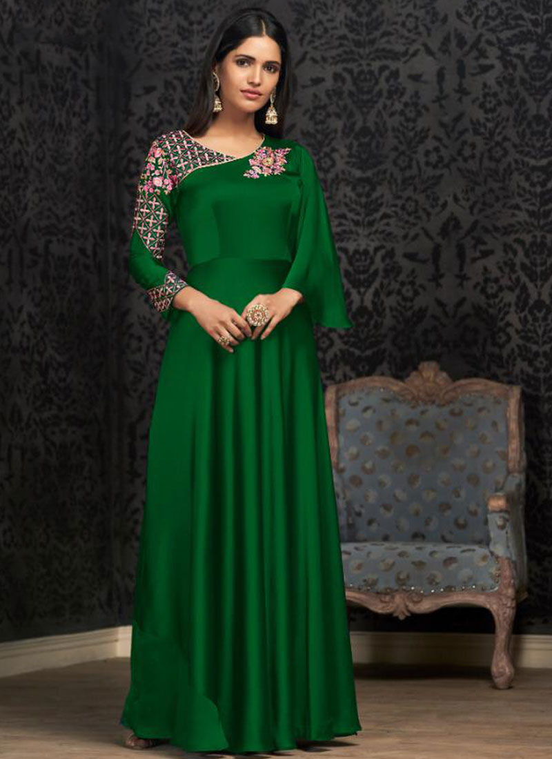 Tempting Embroidered Green Trendy Gown