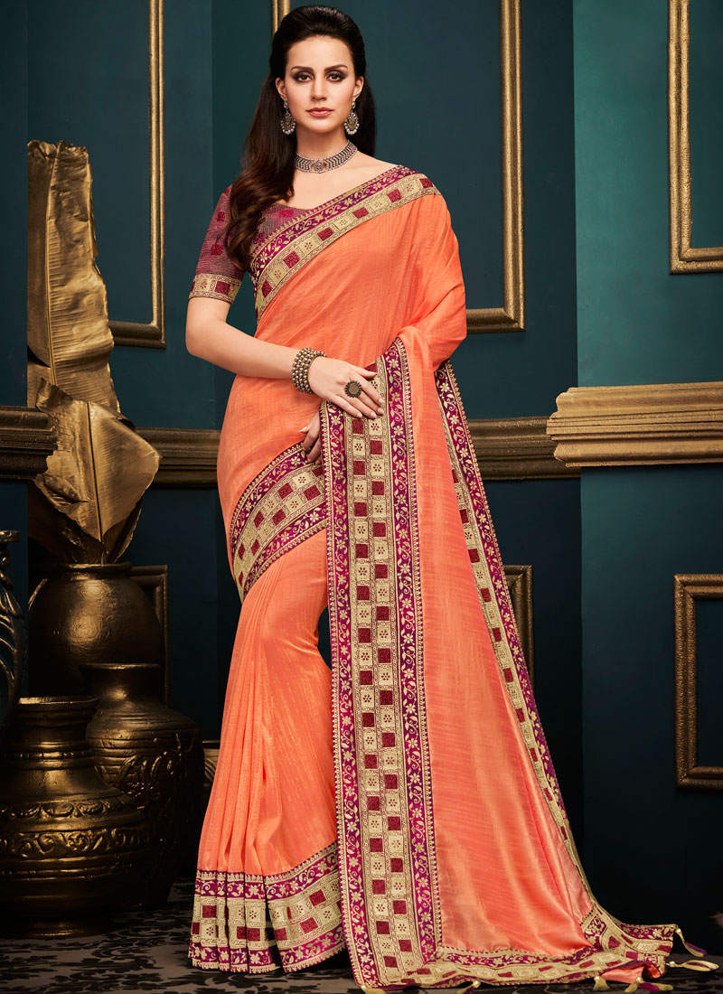 275ce9dac8 Thrilling Art Silk Orange Embroidered Traditional Designer Saree. Hover to  zoom