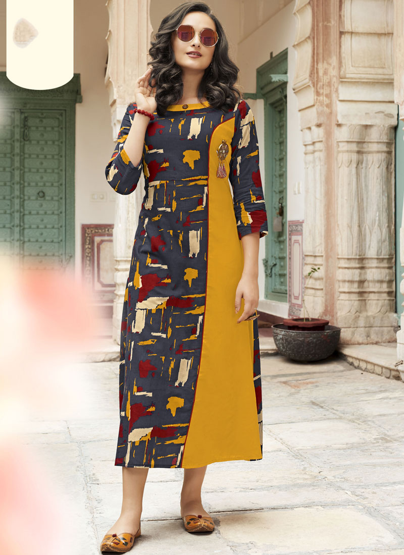 Tiptop Printed Grey and Mustard Rayon Party Wear Kurti