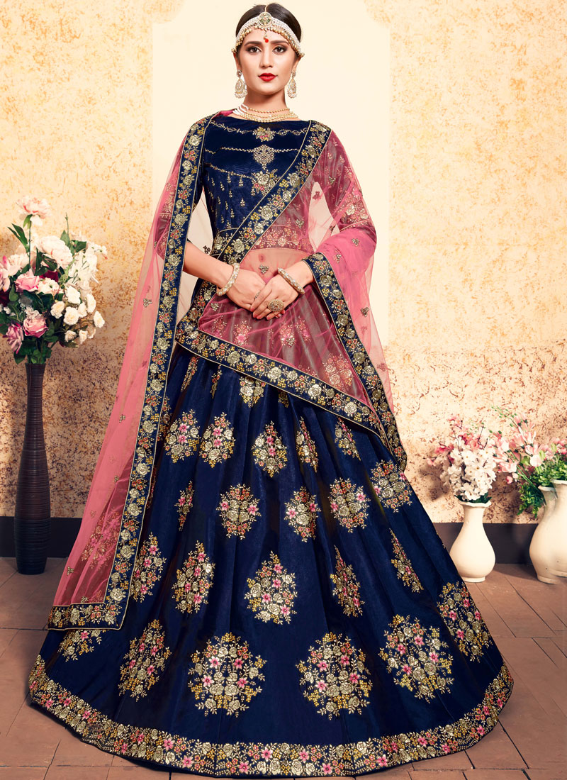 Titillating Satin Wedding Designer Lehenga Choli