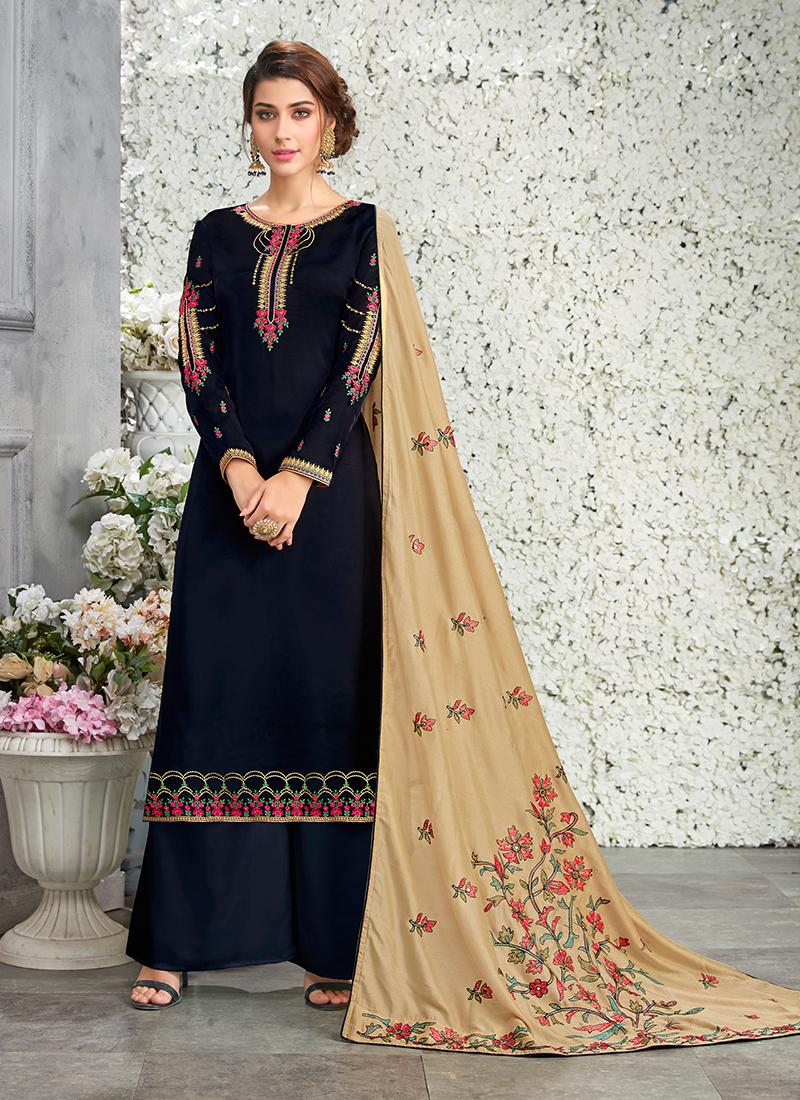 cb3cb80d8c Topnotch Black Art Silk Designer Pakistani Suit. Hover to zoom