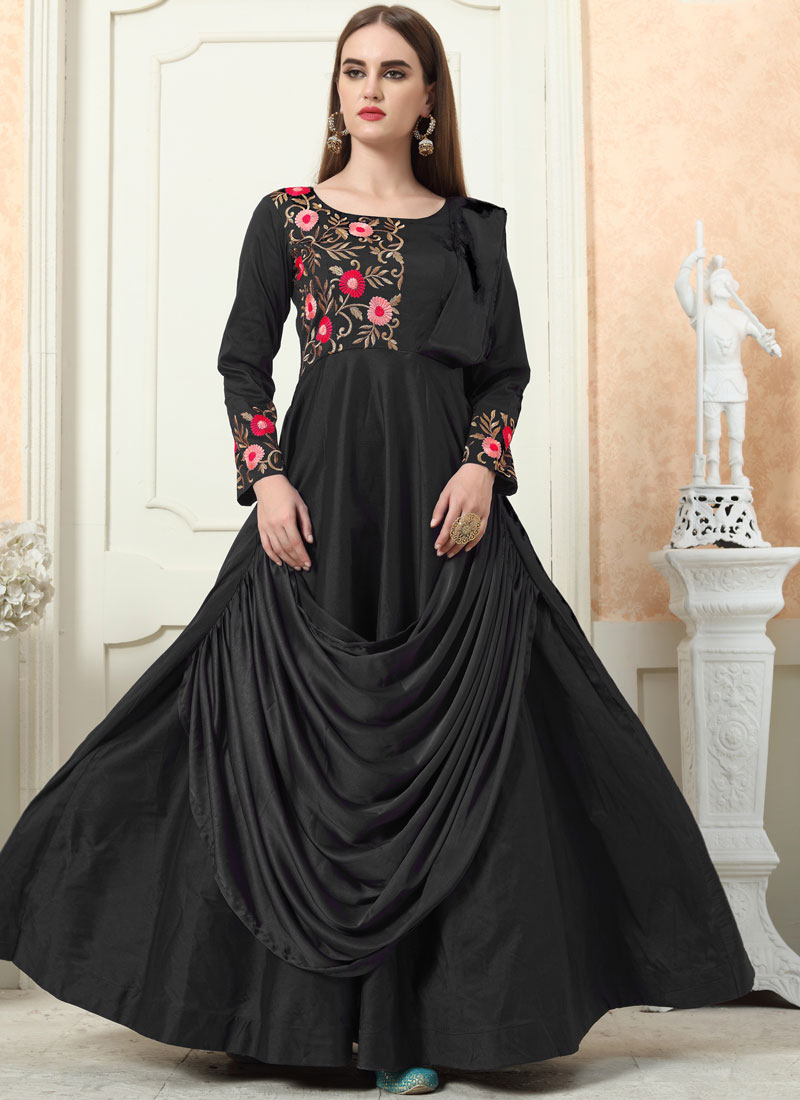 Topnotch Embroidered Black Readymade Designer Gown