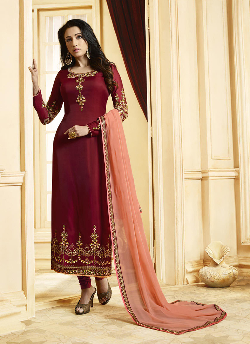 171bbc446b Topnotch Georgette Satin Embroidered Designer Pakistani Suit. Hover to zoom