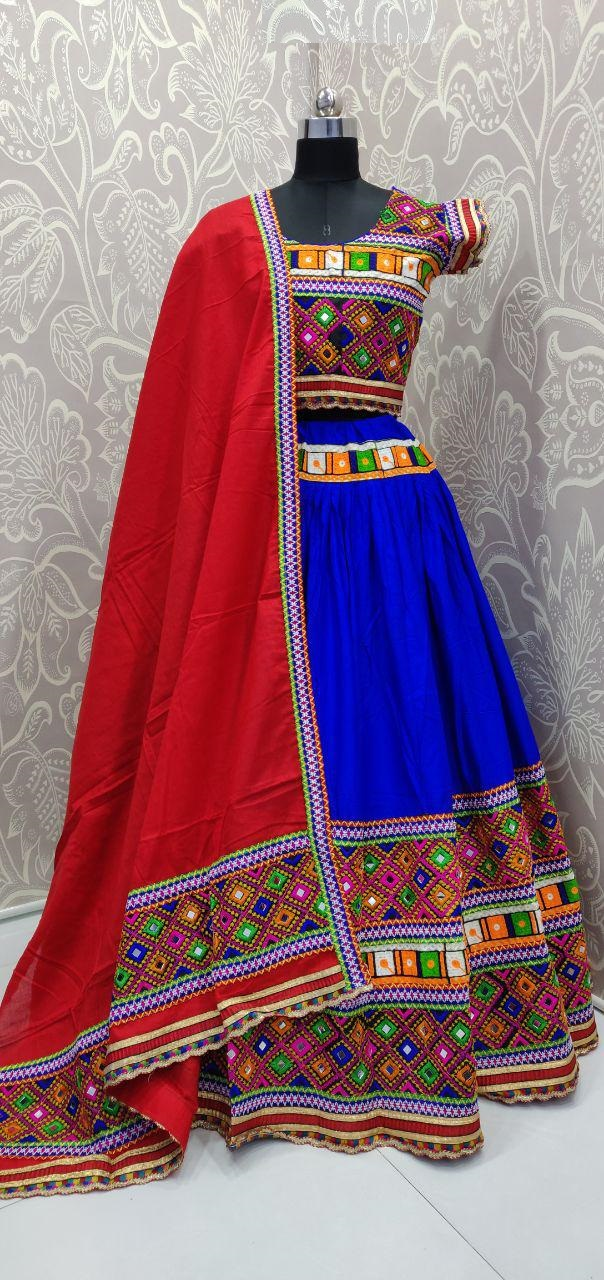 Traditional blue color Navratri Lehengacholi