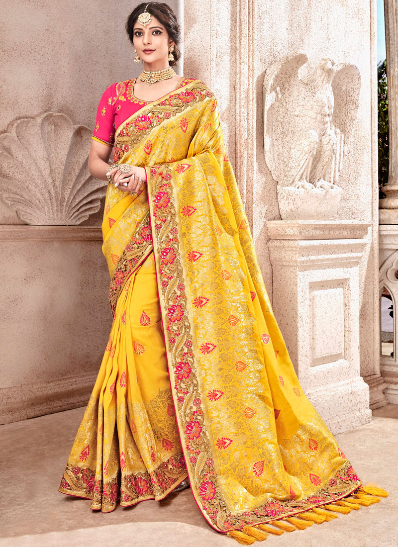 Traditional Designer Saree Embroidered Banarasi Silk in Yellow