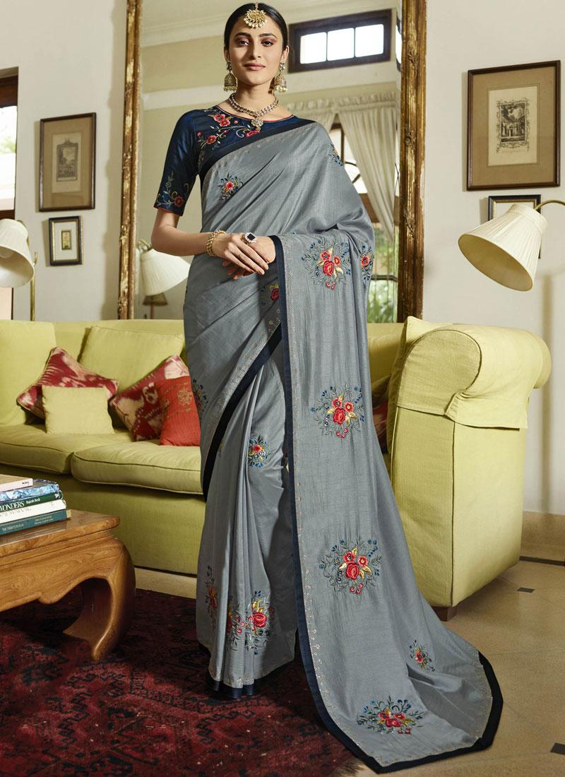 Trendy Art Silk Grey Traditional Designer Saree