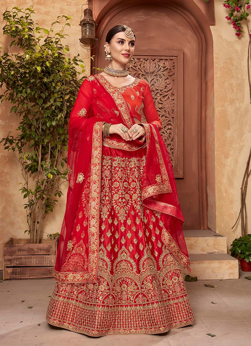 Trendy Embroidered Satin Silk Designer Lehenga Choli
