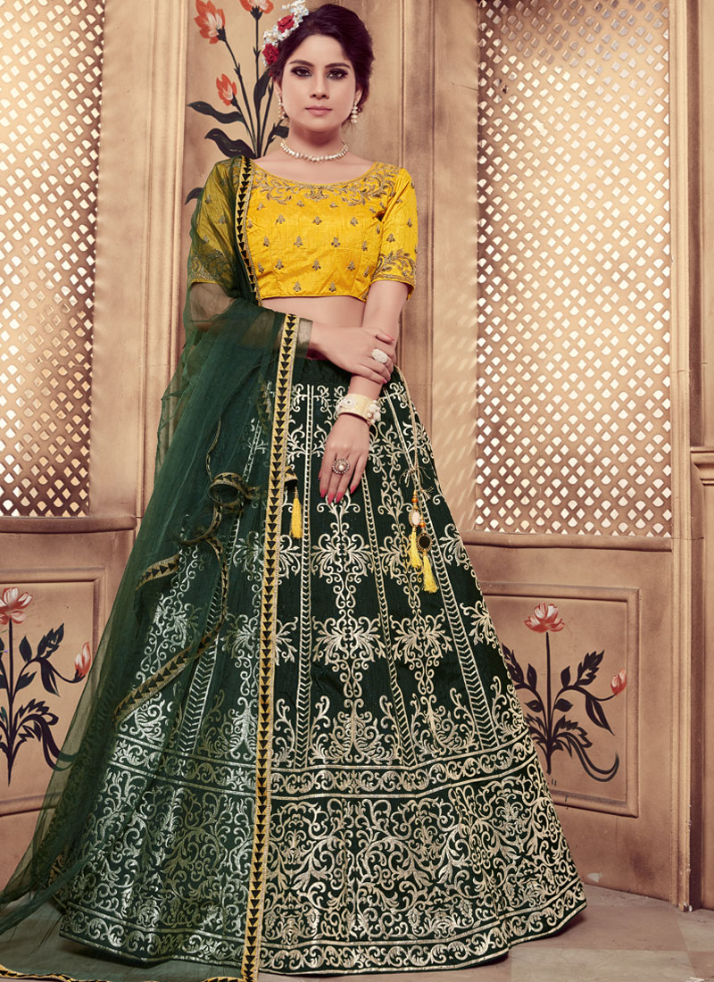 Trendy Lehenga Choli Cutdana Art Silk in Green