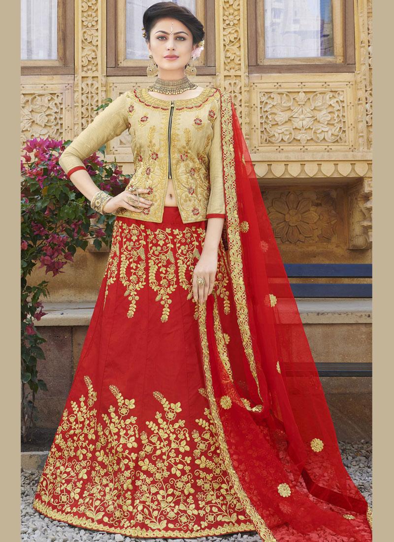 Trendy Lehenga Choli Embroidered Art Silk in Red