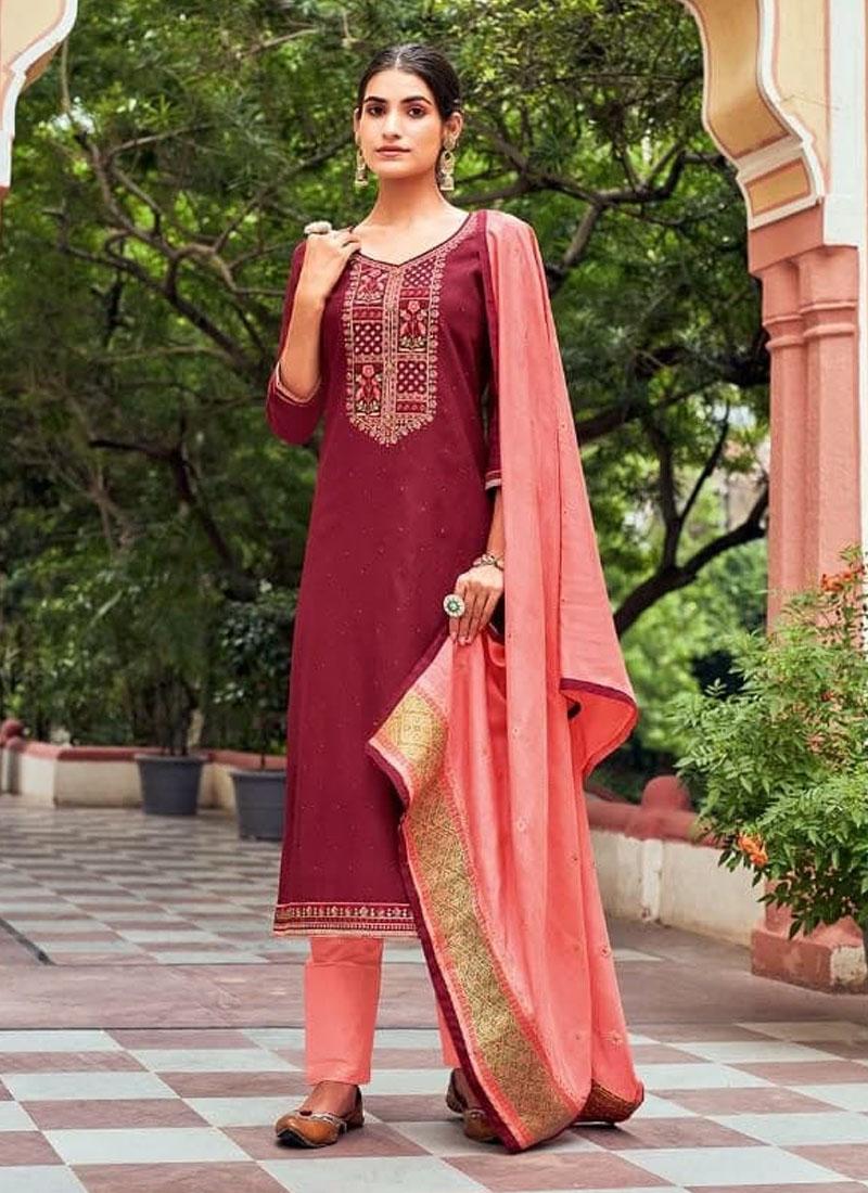 Trendy Look Jamvar Silk Pant Style Salwar Suit In Maroon