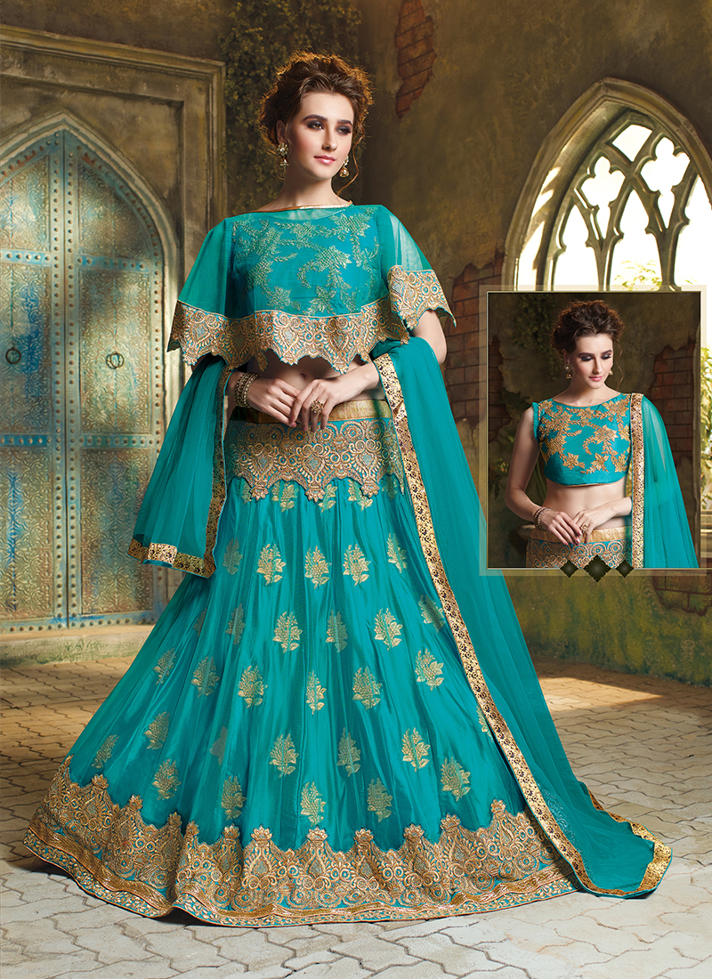 Turquoise Art Silk Embroidered Trendy Lehenga Choli