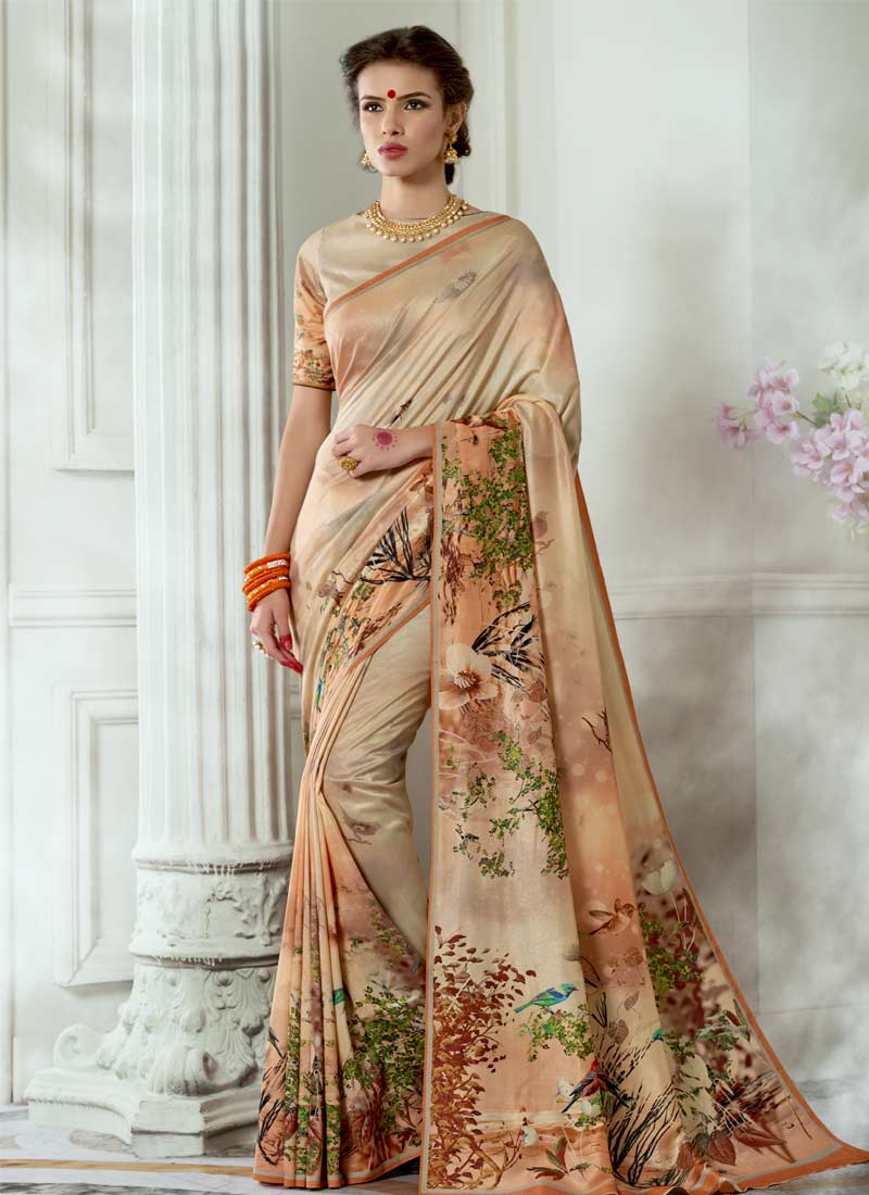 Tussar Silk Digital Print Casual Saree in Cream