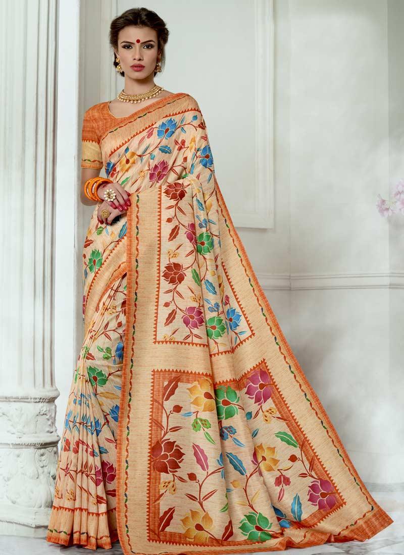 Tussar Silk Digital Print Multi Colour Casual Saree
