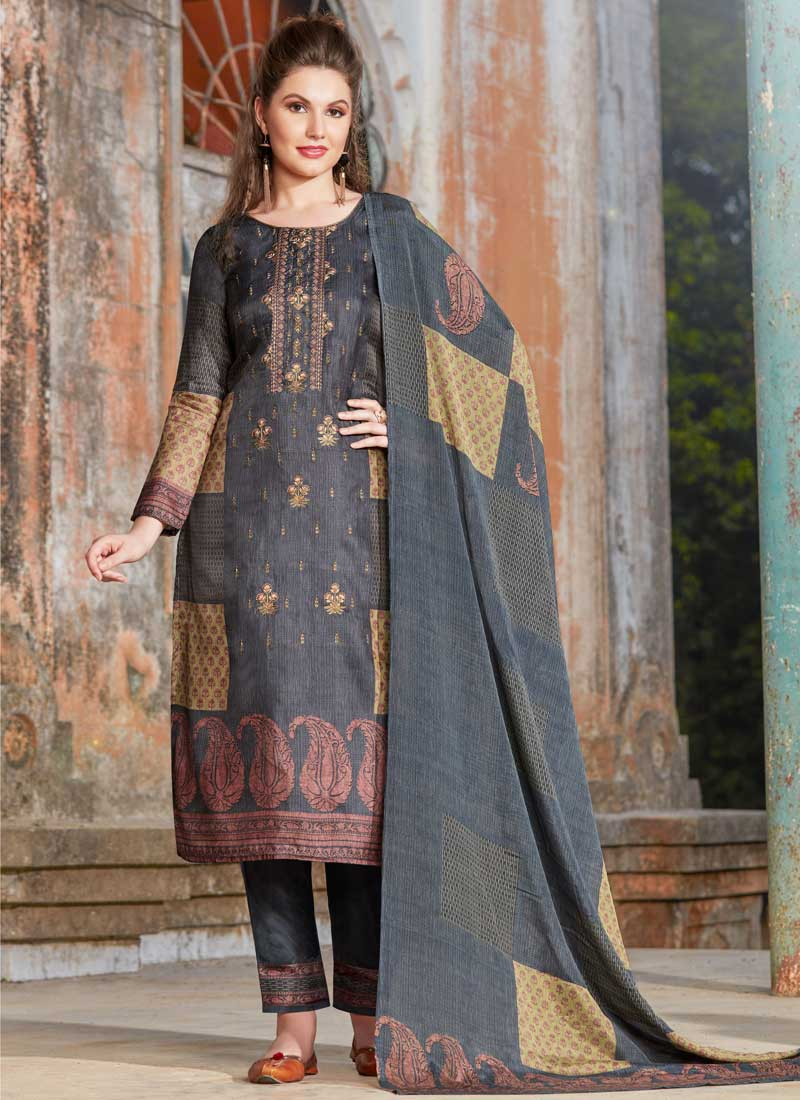 e8eda2601c Tussar Silk Grey Embroidered Pant Style Suit. Hover to zoom