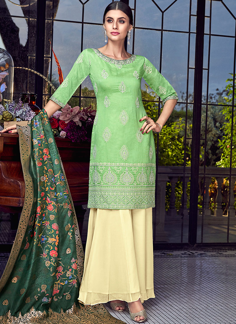 Unique Chanderi Resham Green Designer Pakistani Suit