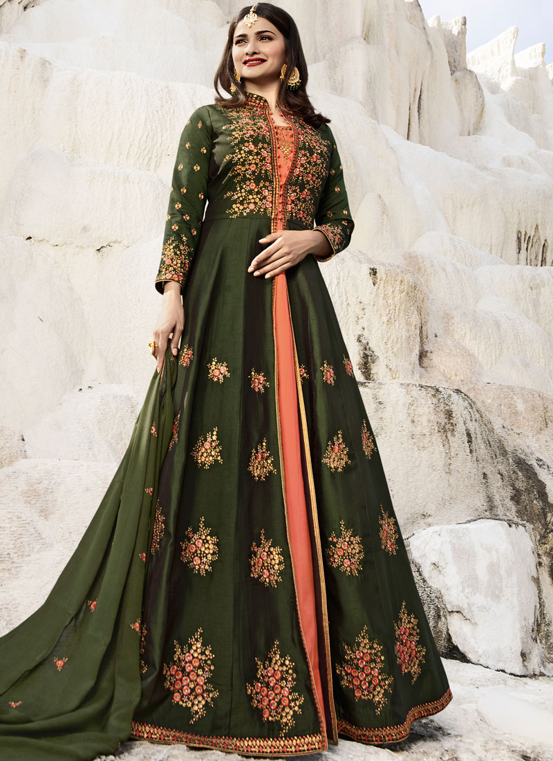 Unique Green Art Silk Designer Salwar Kameez