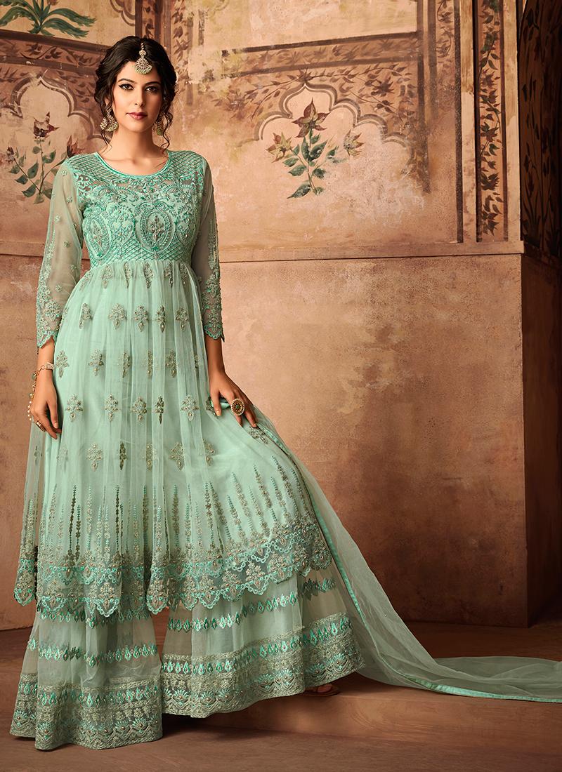 Seagreen Net Embroidered Designer Pakistani Suit