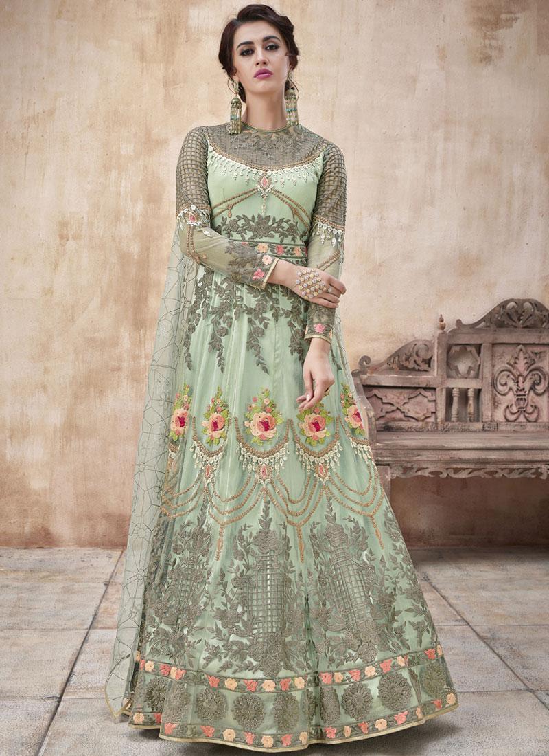 b4d0ff810c Urbane Sea Green Bridal Floor Length Anarkali Suit. Hover to zoom