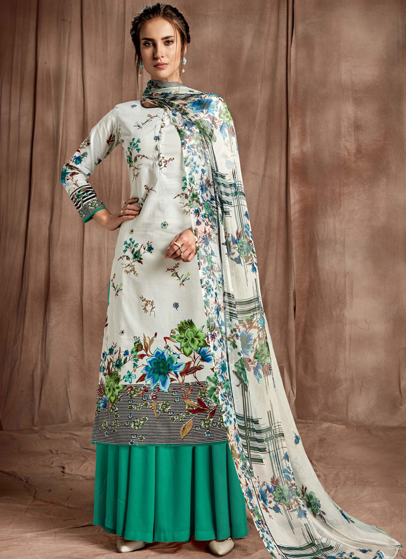 e5d19b74f1 Vibrant Digital Print Party Designer Palazzo Salwar Suit. Hover to zoom
