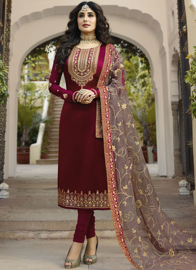 Vibrant Georgette Satin Churidar Designer Suit