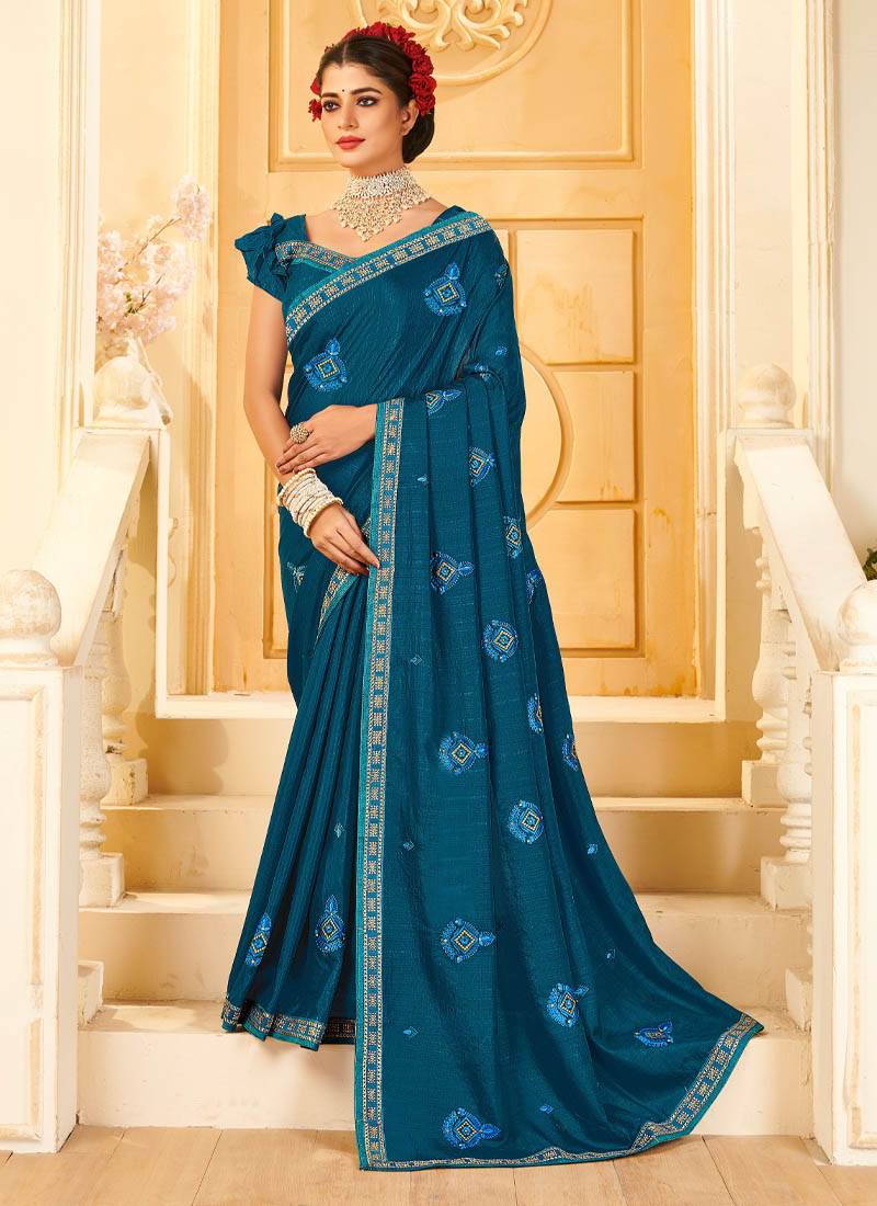 Vichitra Silk Embroidery Saree In Teal Blue