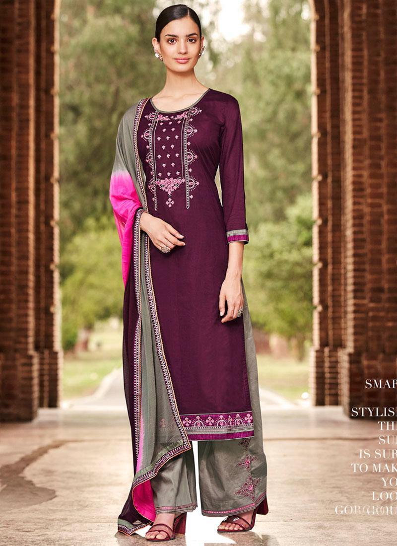 45bda5c9b9 Violet Embroidered Cotton Palazzo Designer Salwar Kameez. Hover to zoom